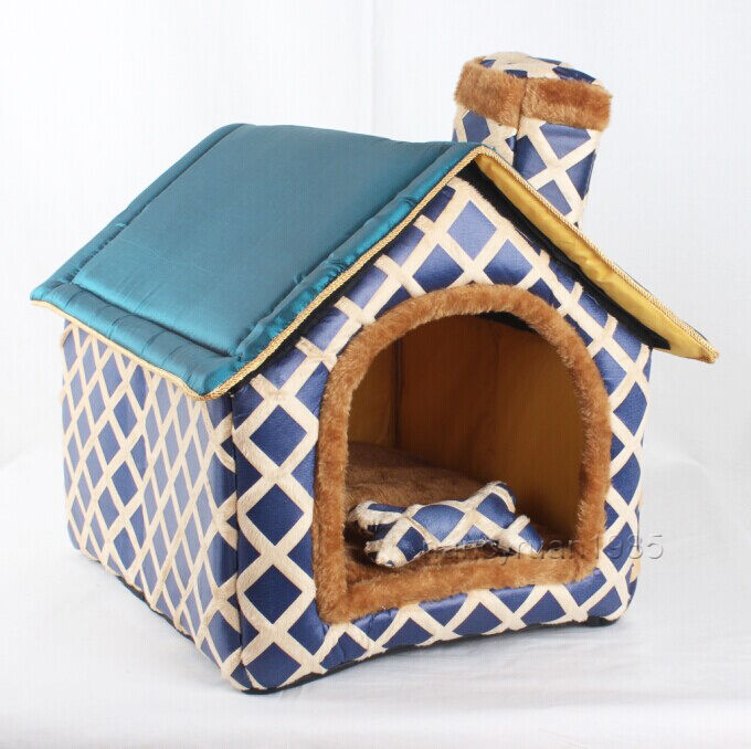 New Indoor All Blue Chimney Pet Dog Cat House Beds Kennel