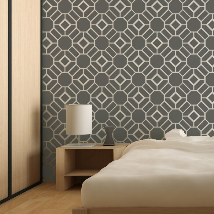 Wall Stencil Large Geometric Pattern Geoffrey For Wall