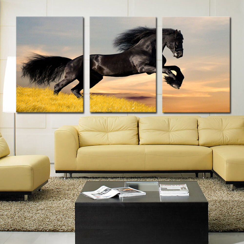 black horse ready to hang 3 piece mounted wall art better than stretched canvas ebay. Black Bedroom Furniture Sets. Home Design Ideas