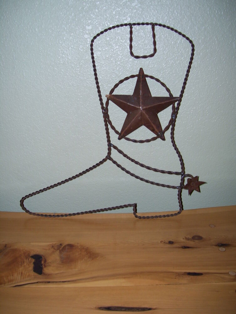 Metal Wire Boot With Spur And Star 16 5 Quot X16 Quot Wall Barn Art