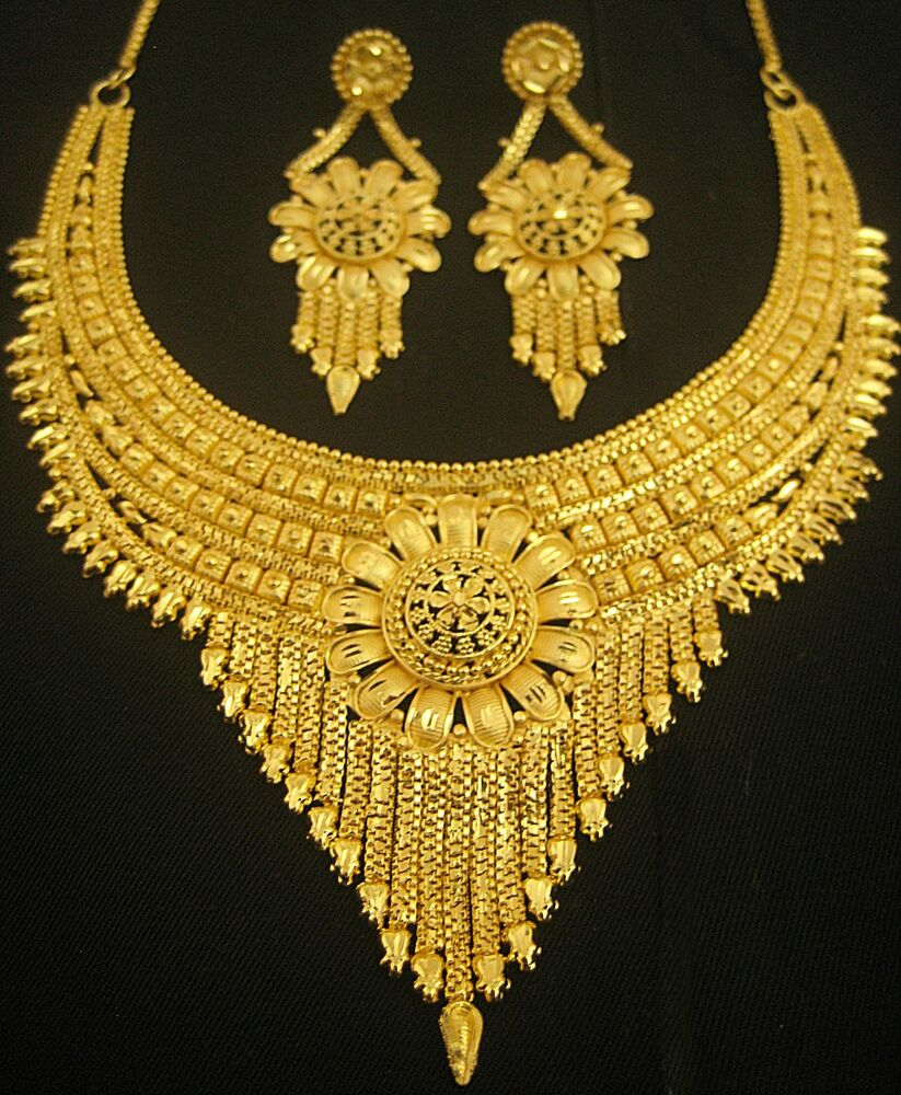 New Necklace Earring Set Gold Polki Jewellery Indian: Designer Gold Plated Indian Royal Style Necklace Earring