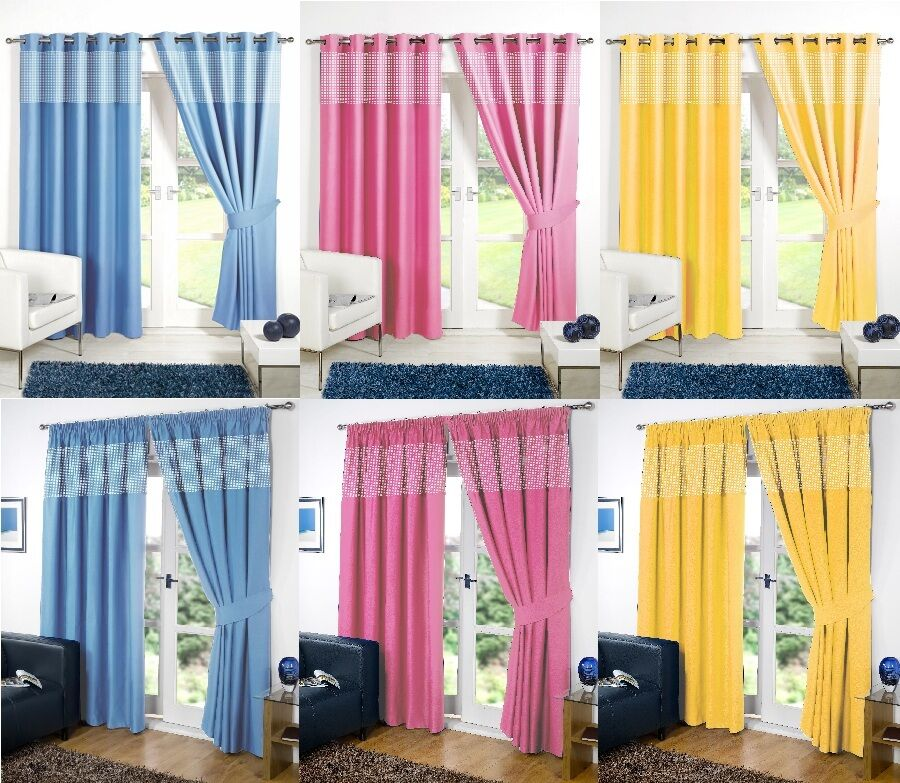 Gingham kids bedroom curtains thermal blackout curtain - Childrens bedroom blackout curtains ...