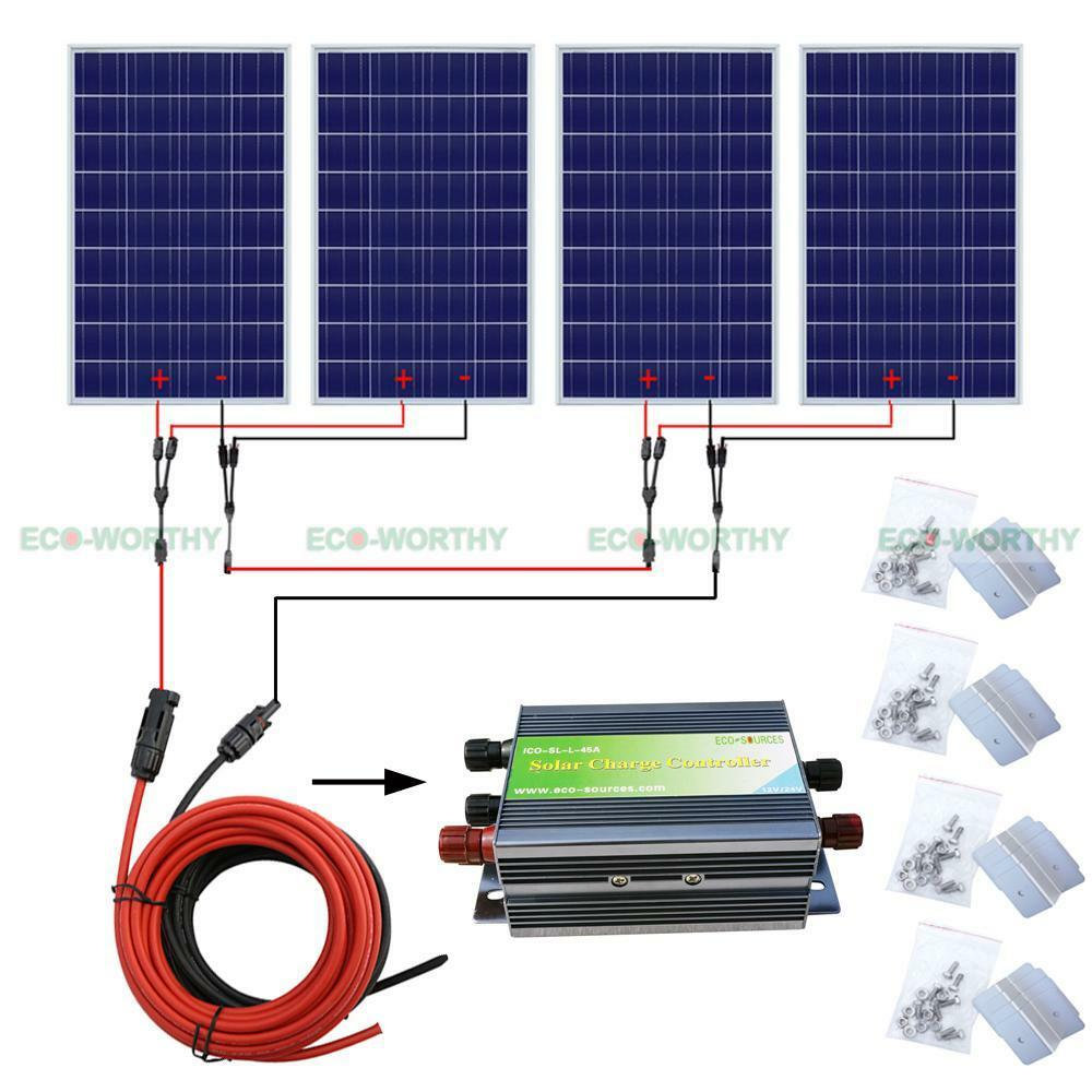 400w solar panel complete kit home system for 24v rv pv for Complete kit homes