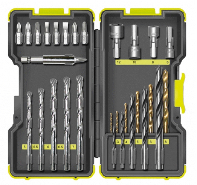 ryobi rak30mix 30 teiliges set bohrer bits metallbohrer holzbohrer steinbohrer ebay. Black Bedroom Furniture Sets. Home Design Ideas
