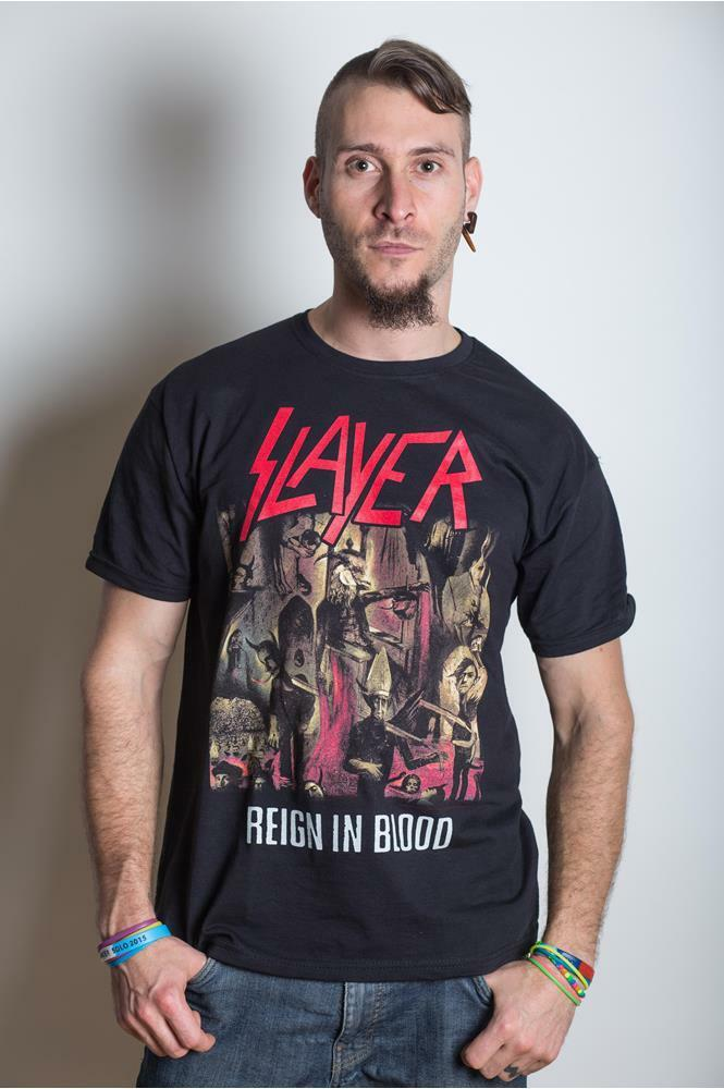 slayer reign in blood t shirt black s to xxl new official logo angel of death ebay. Black Bedroom Furniture Sets. Home Design Ideas