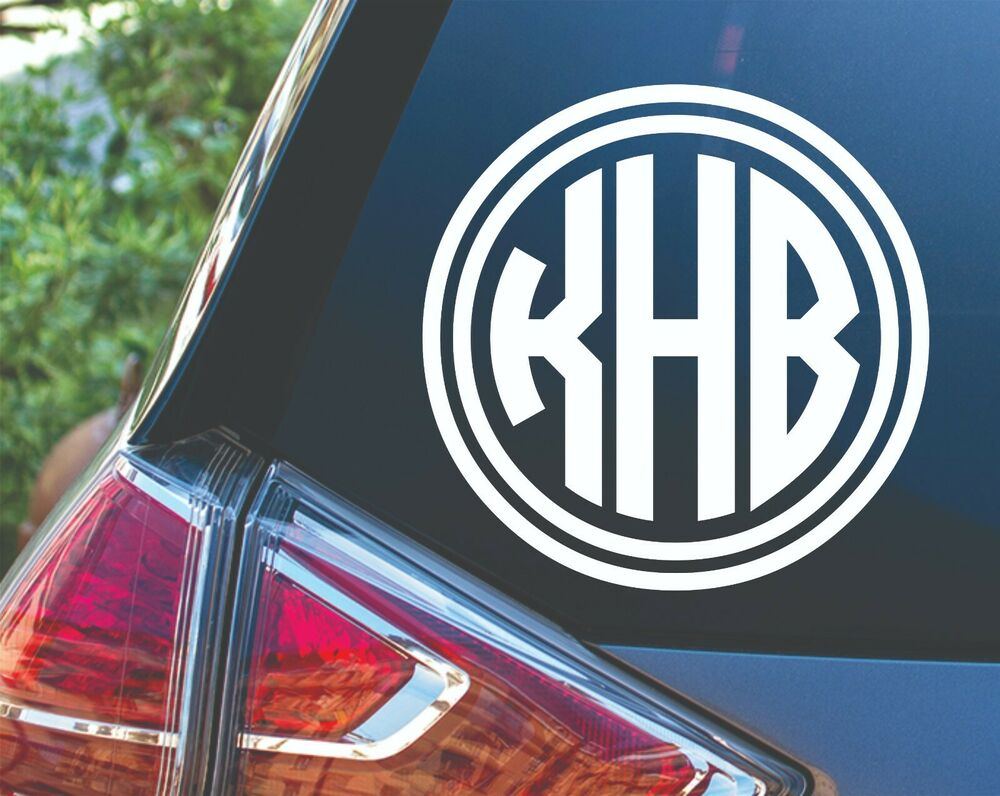 personalized double circle monogram vinyl decal sticker