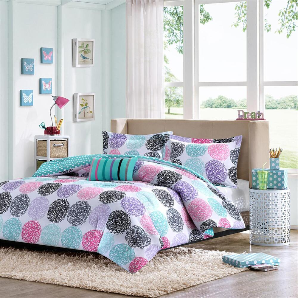 Modern cute fun blue aqua teal pink purple green polka dot girl comforter set ebay - Cute teenage girl bedding sets ...