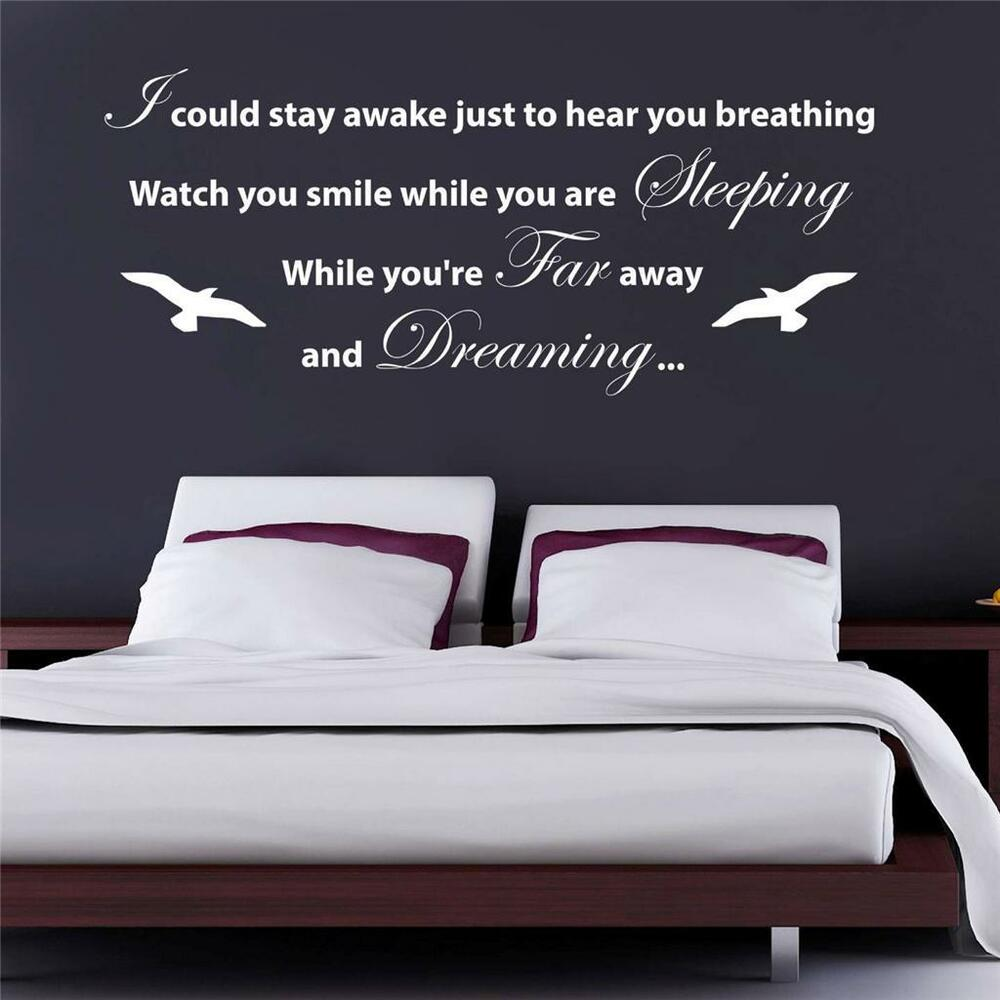 Aerosmith Breathing Quote Vinyl Wall Art Sticker Decal: I COULD STAY AWAKE Quote Decal WALL STICKER Art Aerosmith