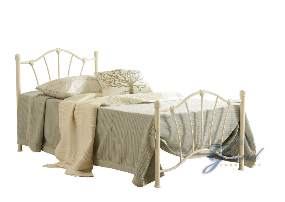 Victorian Style Metal Bed Frames : Sally ft single victorian style metal bed frame cream
