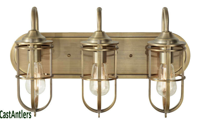 Retro Vintage Industrial Edison 3 Light Bathroom Vanity