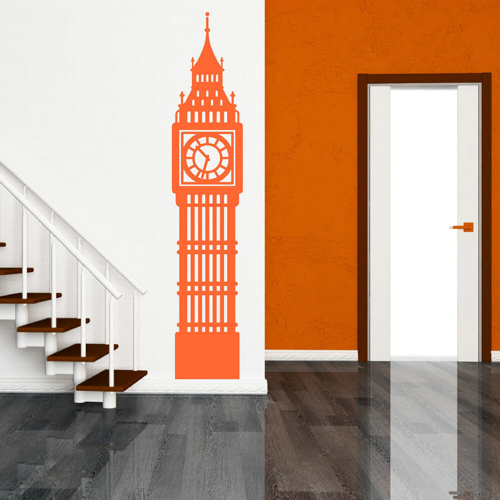 Big ben london clock vinyl wall art sticker decal room for Sticker deco