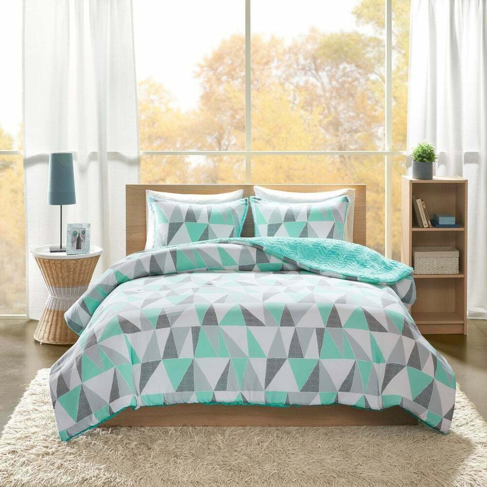 beautiful modern grey blue aqua green teal yellow exotic bohemian comforter set ebay. Black Bedroom Furniture Sets. Home Design Ideas