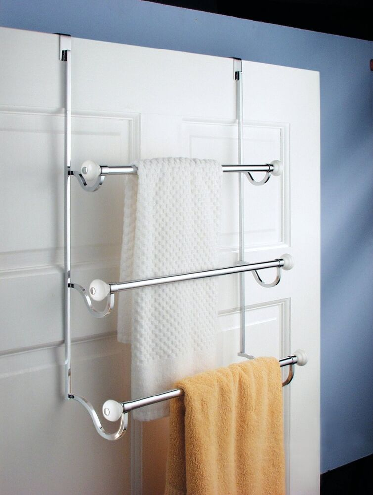over the door 3 tier bathroom towel bar rack chrome w white accents ebay. Black Bedroom Furniture Sets. Home Design Ideas