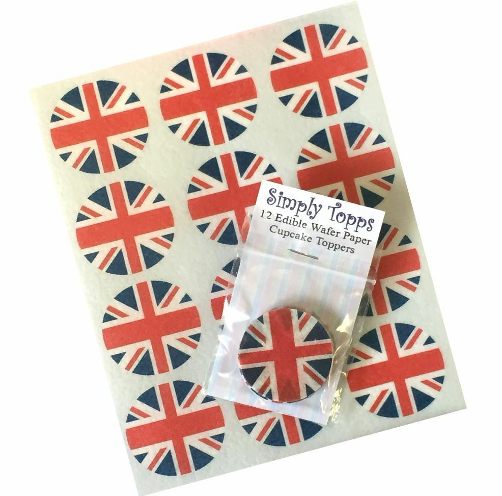 12 union jack flag cupcake decoration edible cake toppers for Decoration murale union jack