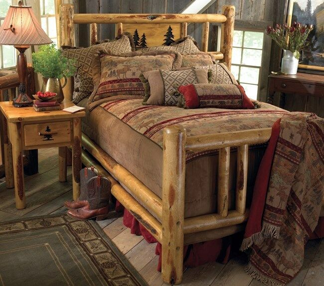 Custom rustic bed frame country western bedroom cabin for Diy rustic bunk beds