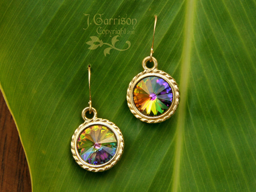 chagne colored earrings northern lights gold earrings autumn color changing 8177