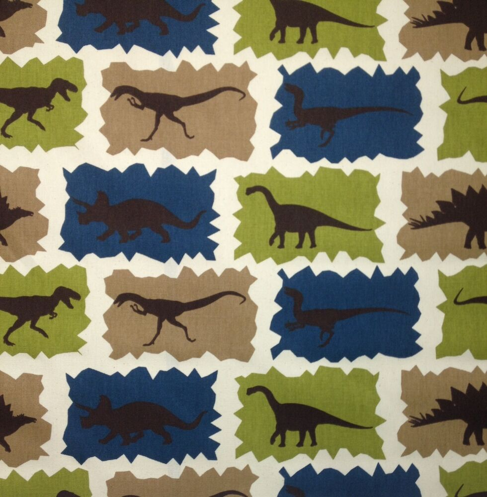 Premier prints dinosaur rex blue t rex furniture fabric by for Dinosaur fabric