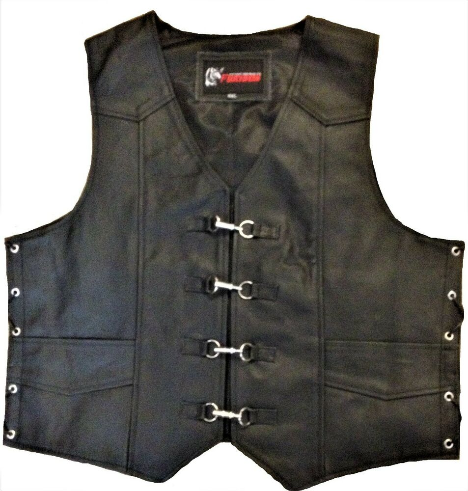 Mens Motorcycle Vest Leather Waistcoat Clip Buckle Rider