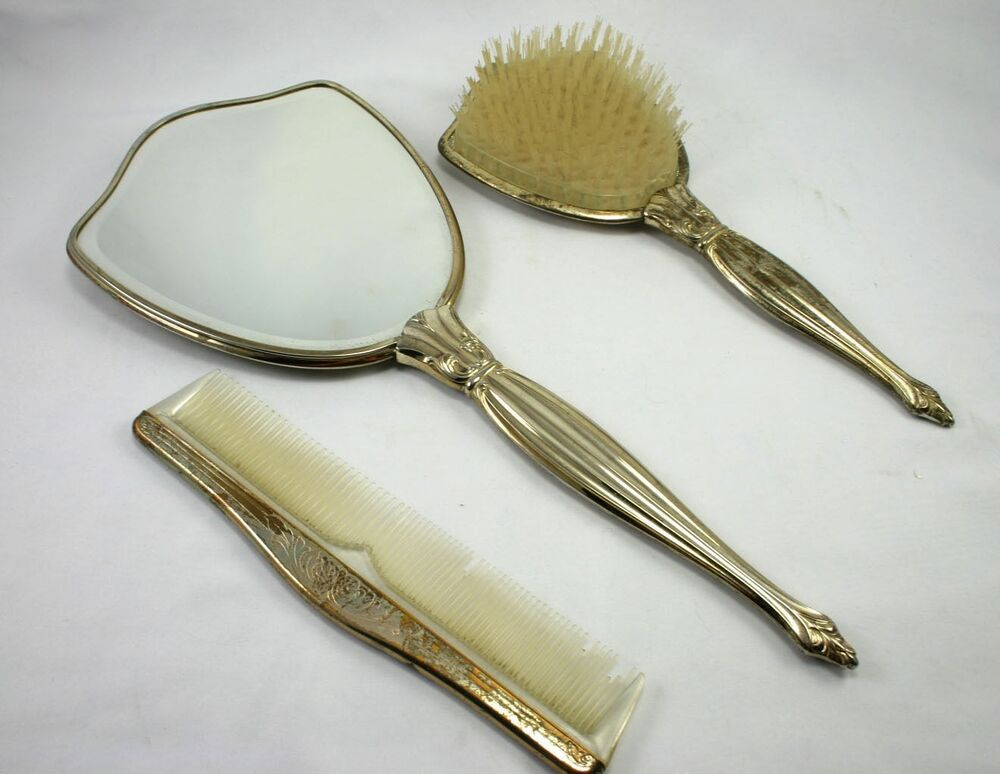 Vintage Silver Plated Vanity 3 Piece Set Mirror Brush