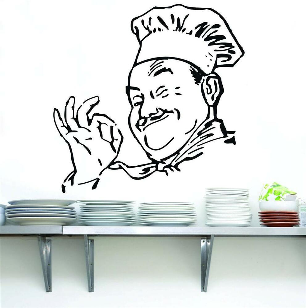 Chef decal wall sticker art home decor vinyl silhouette - Funny kitchen wall decals ...