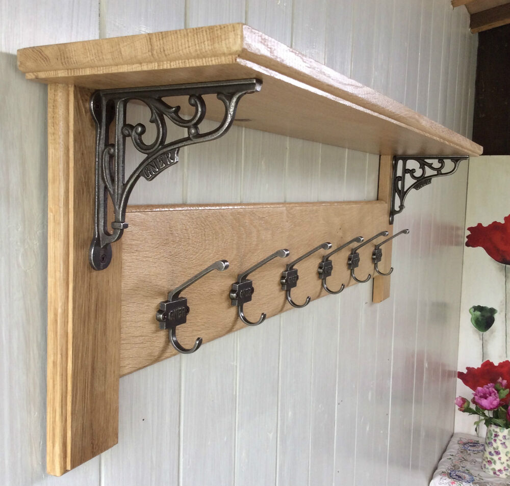Vintage Style Solid Wood Oak Coat Rack With Shelf