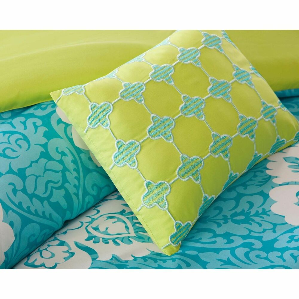 Beautiful modern teal aqua blue green grey yellow Teal bedding sets