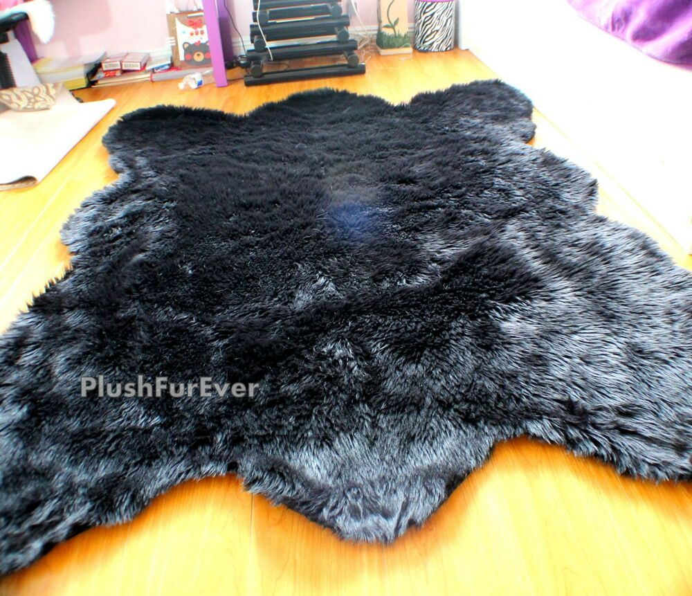 black faux fur rug 5 x 6 large big plush black faux fur modern rug 4669