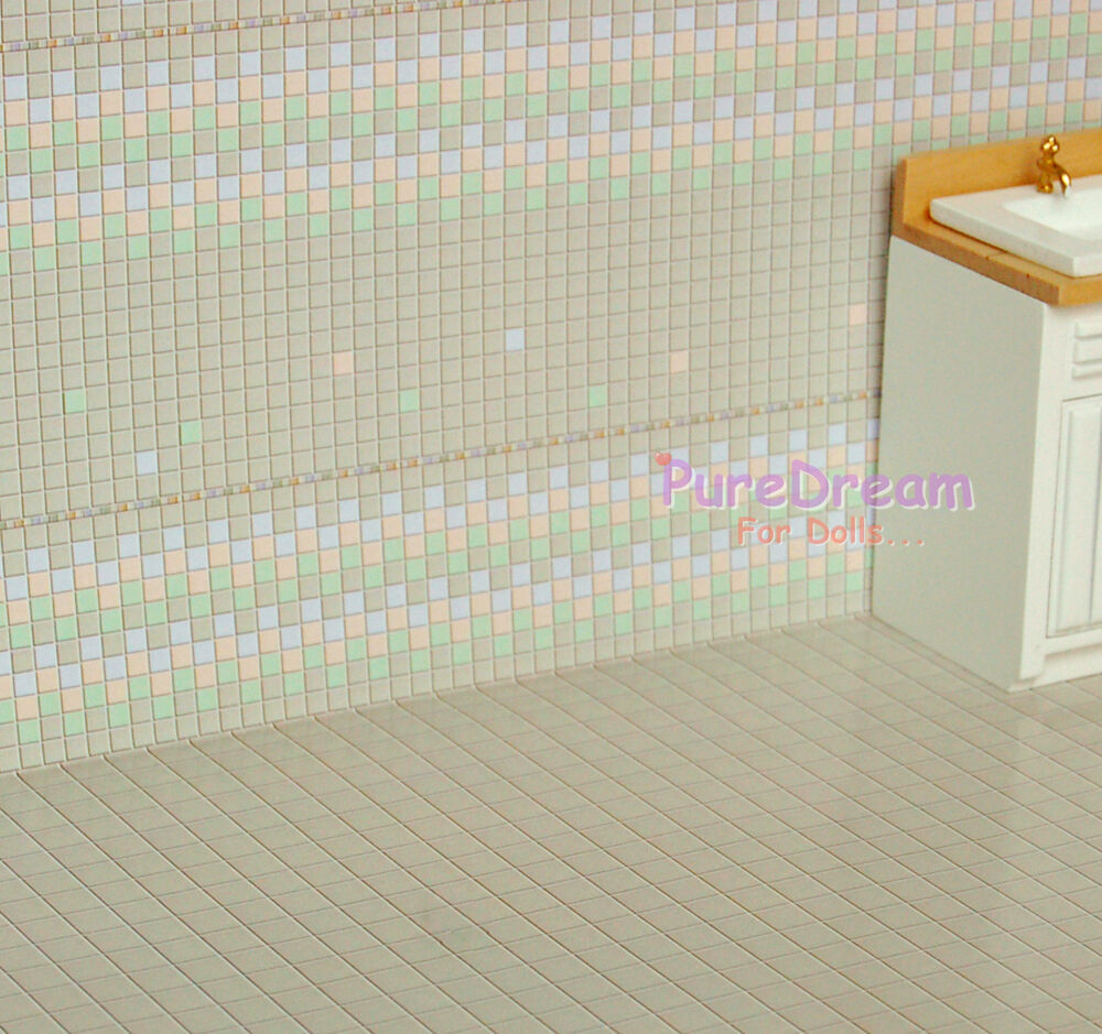 Wallpaper for dollhouse tile wall paper floor covering for Wall covering paper
