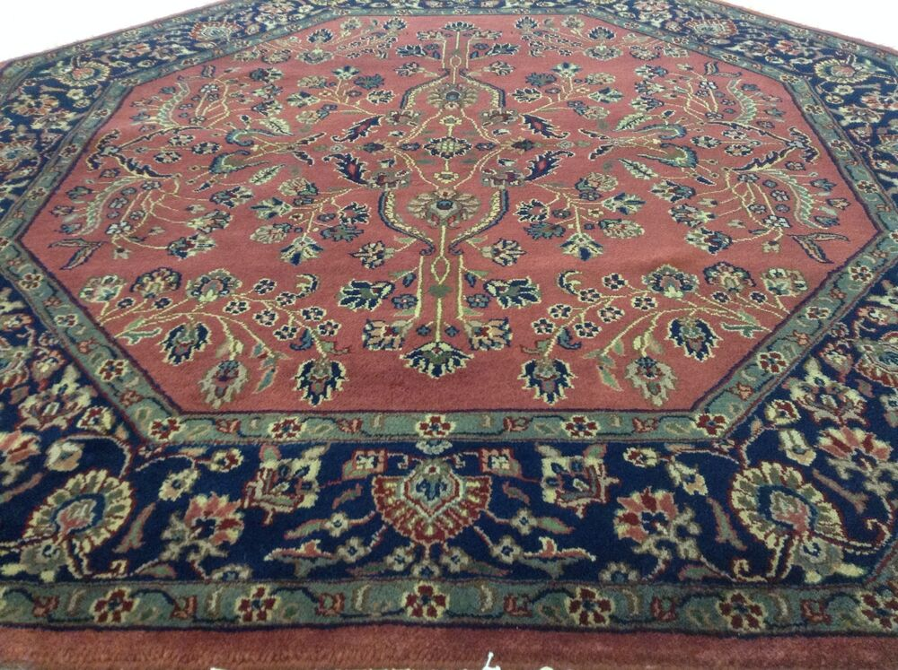 5 x 5 Octagon Sarouk Oriental Area Rug Hand Knotted