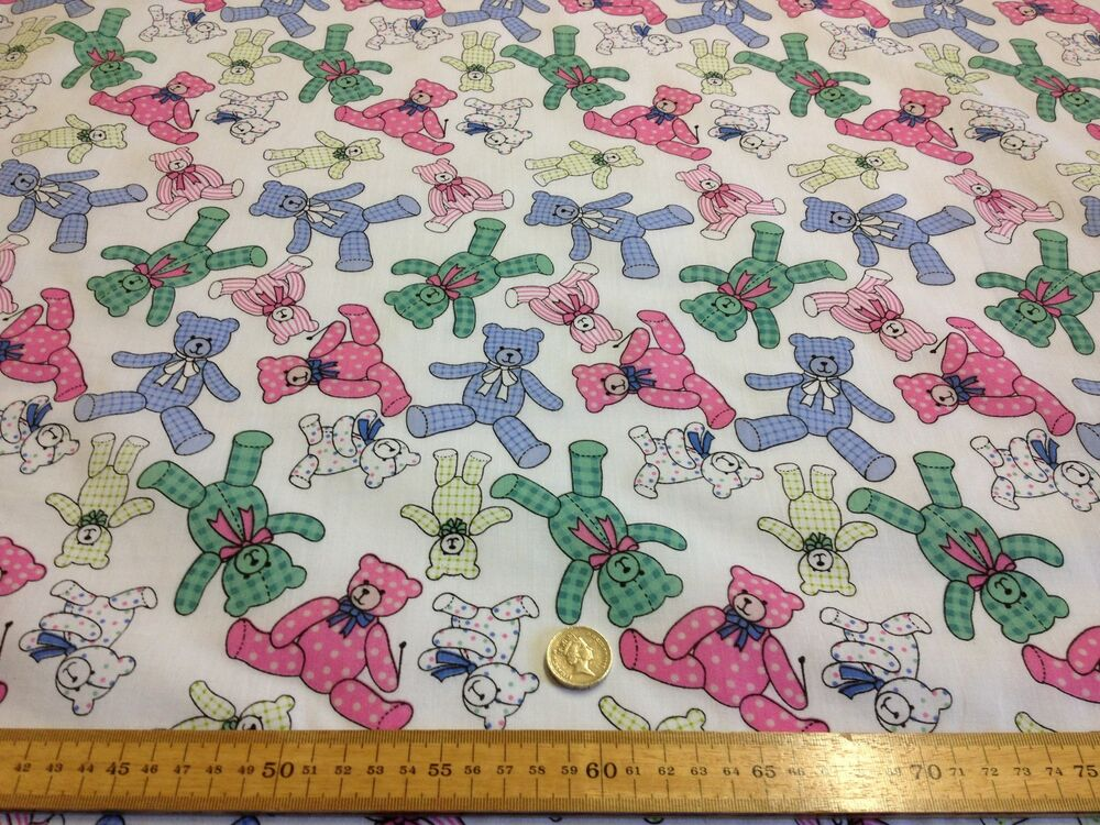 Baby nursery teddies pink blue green poly cotton fabric for Pink nursery fabric