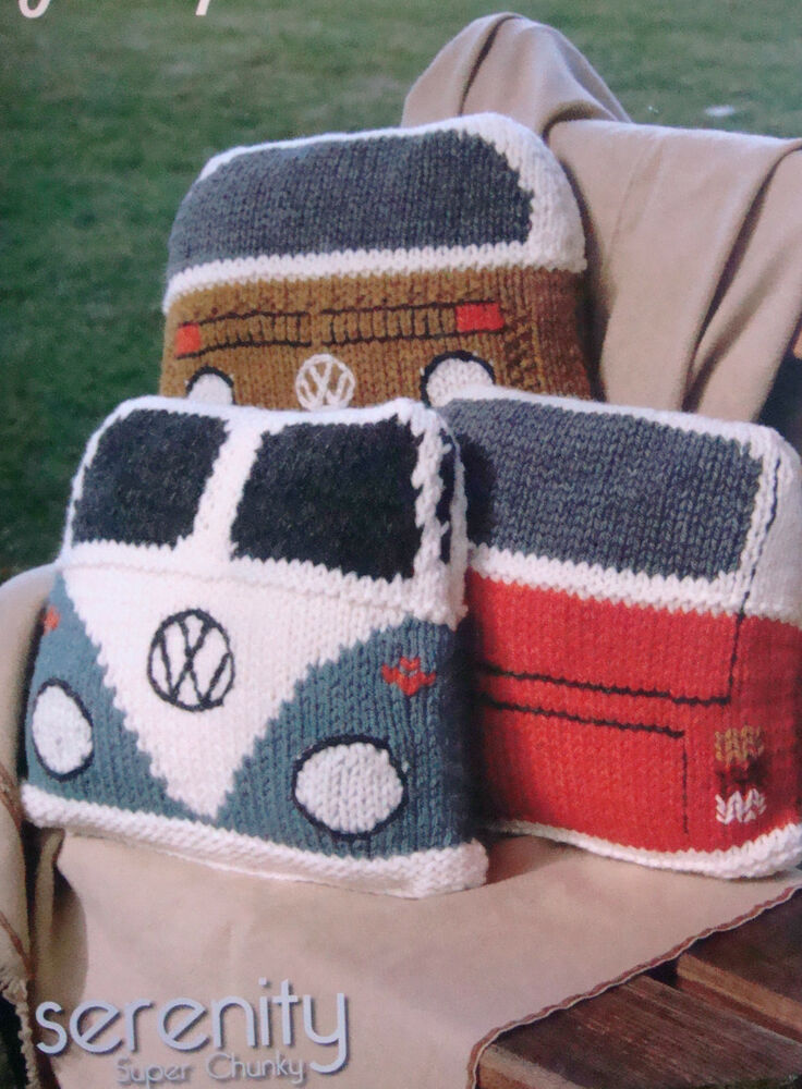 Vw Campervan Knitting Pattern : Wendy SERENITY SUPER CHUNKY.Knitting pattern 5748. KNITTED VW CAMPERVAN CUSHI...