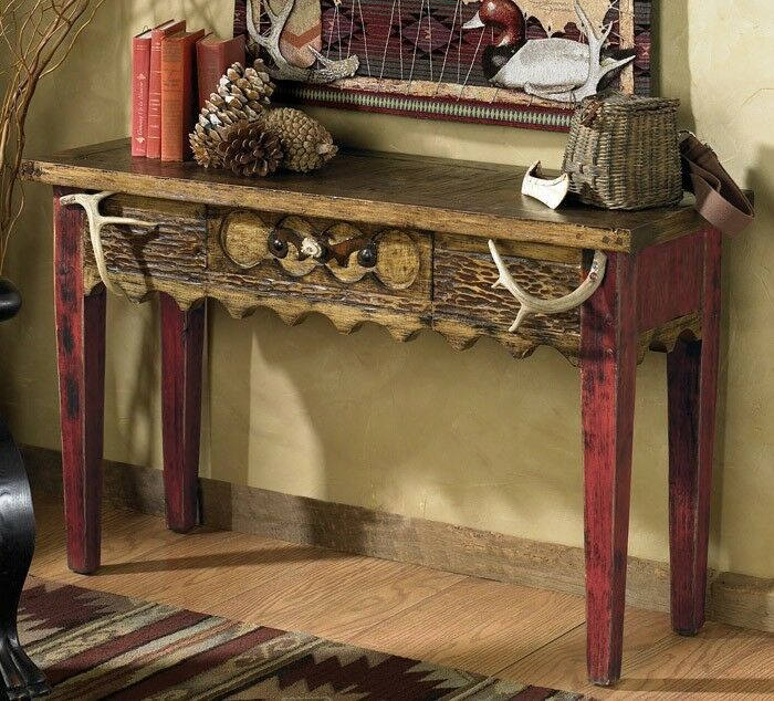 Custom Western Rustic Sofa Table With Antlers Cabin Log