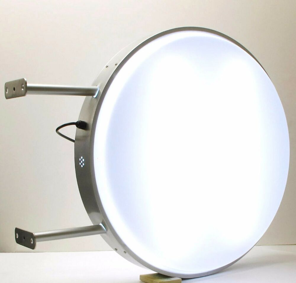 Led 60cm double sided outdoor round projecting light box for Exterior light boxes