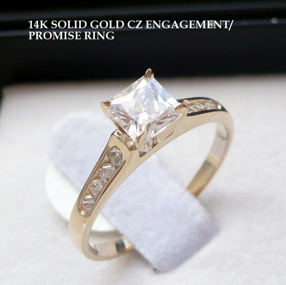 14k solid gold cz engagement promise ring size 7