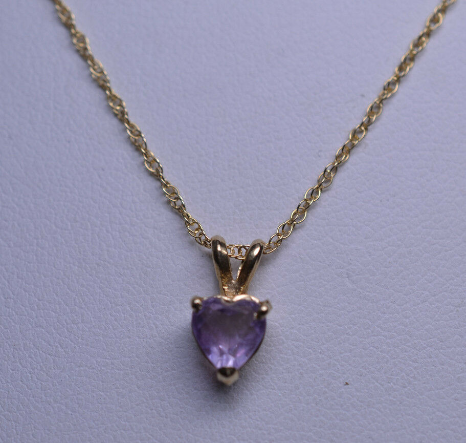 14k Yellow Gold Light Amethyst Heart Pendant On 18 Inch