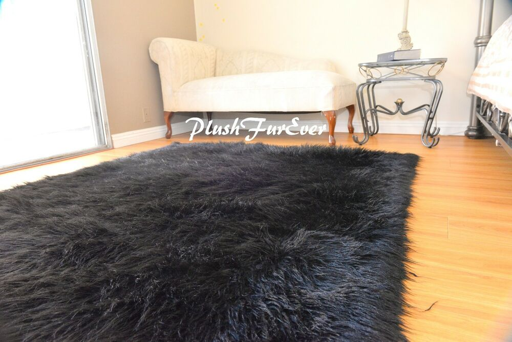 5 X6 Faux Fur Rug Rectangle Area Rug Black Shaggy Premium