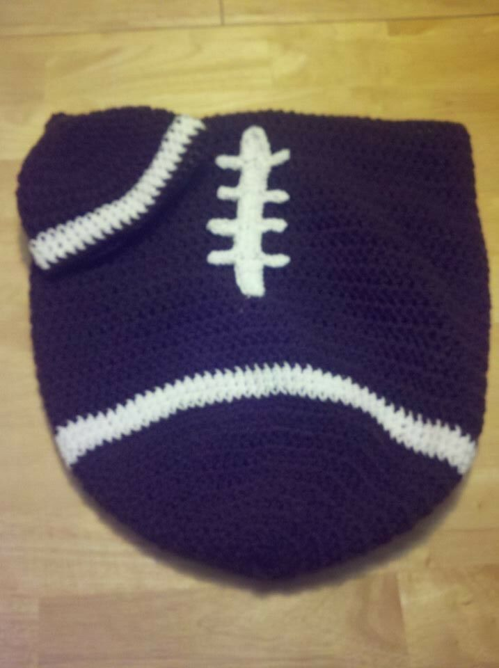 Free Printable Crochet Patterns For Baby Cocoons : Baby crochet football cocoon and hat set, photo prop ...