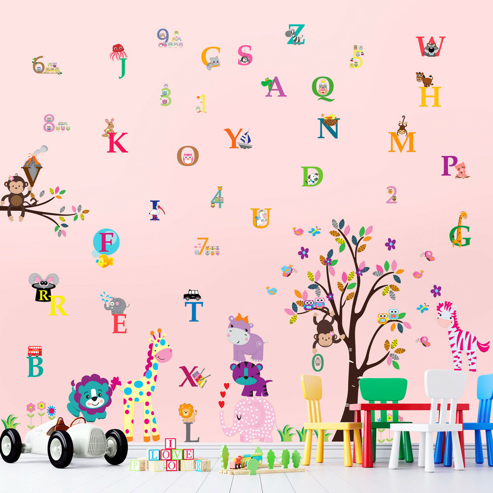 Wall stickers mural decal paper art decoration happy for Alphabet wall mural