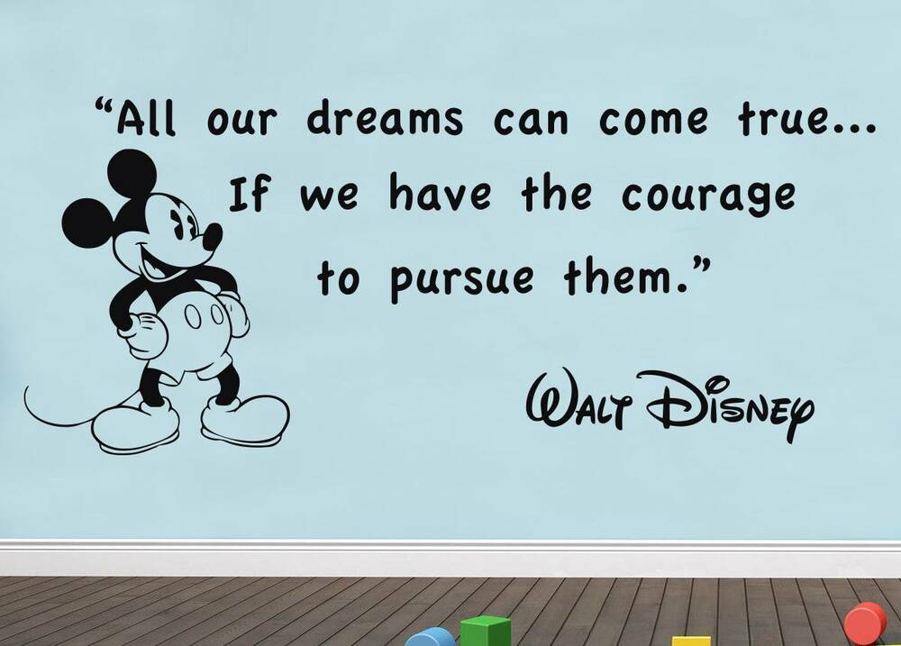 Quotes From Mickey Mouse: ALL OUR DREAMS Walt Disney Quote Decal WALL STICKER Decor