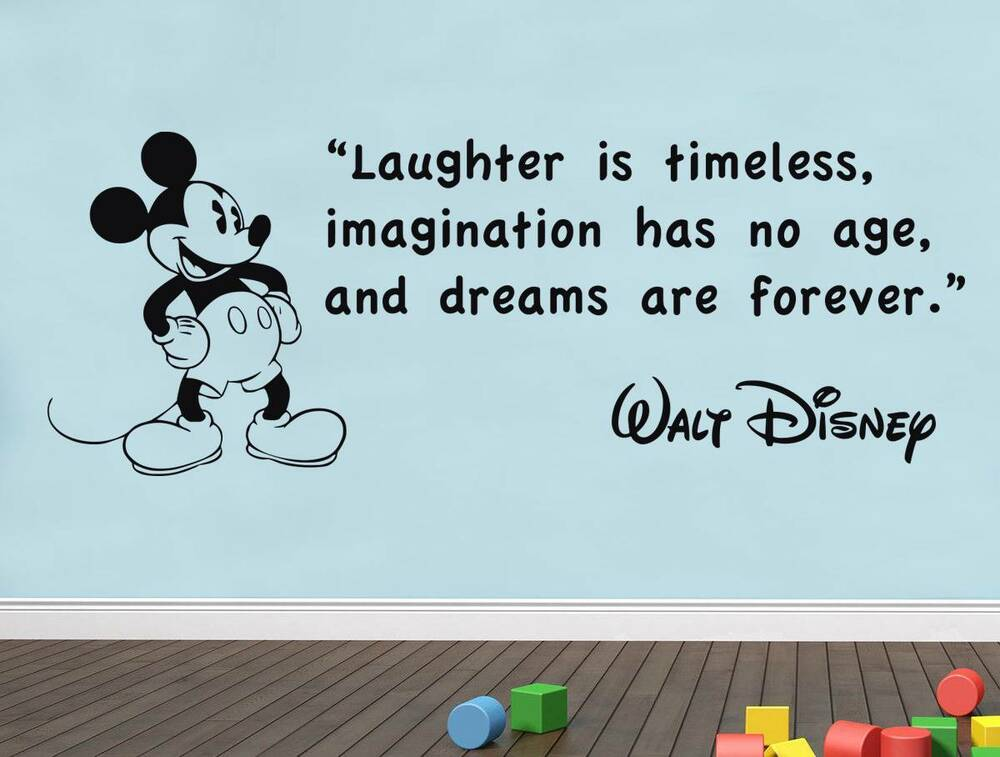 laughter is timeless walt disney quote decal wall sticker. Black Bedroom Furniture Sets. Home Design Ideas