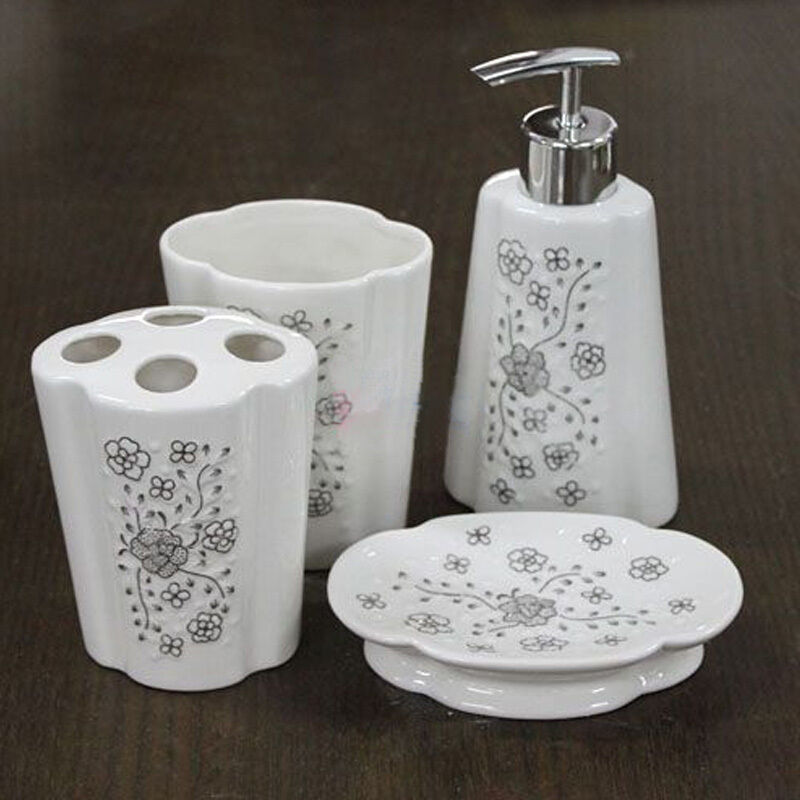 4 set white silver ceramic bathroom accessory soap lotion for Bathroom accessories silver