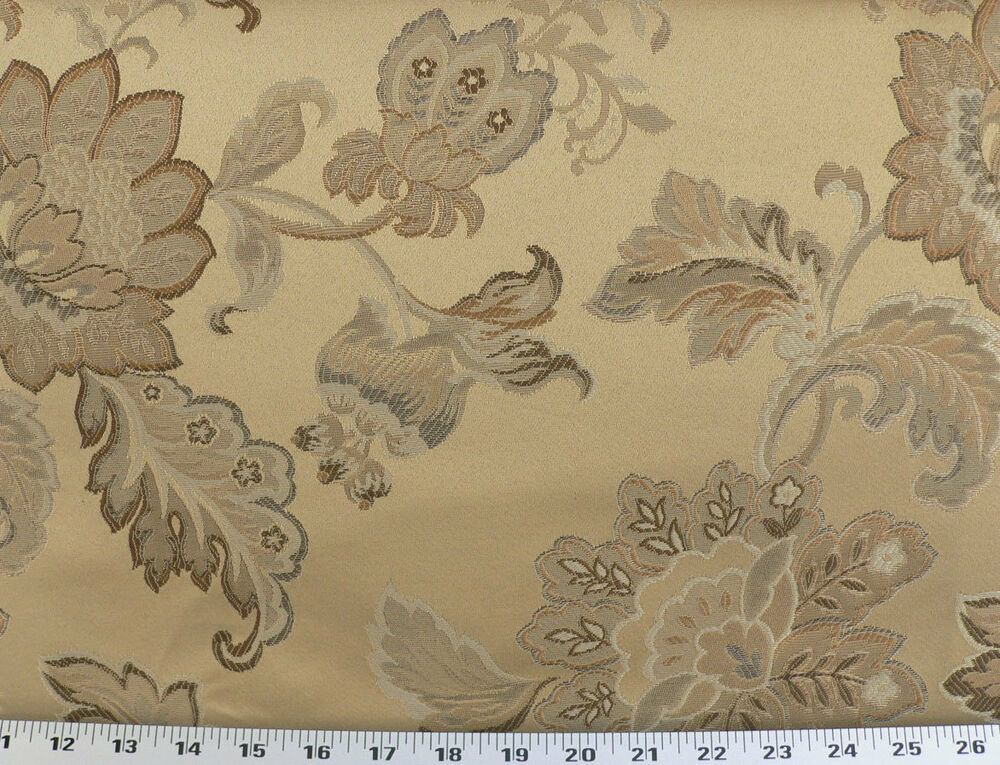 Drapery upholstery fabric jacquard floral copper brown for Floral upholstery fabric