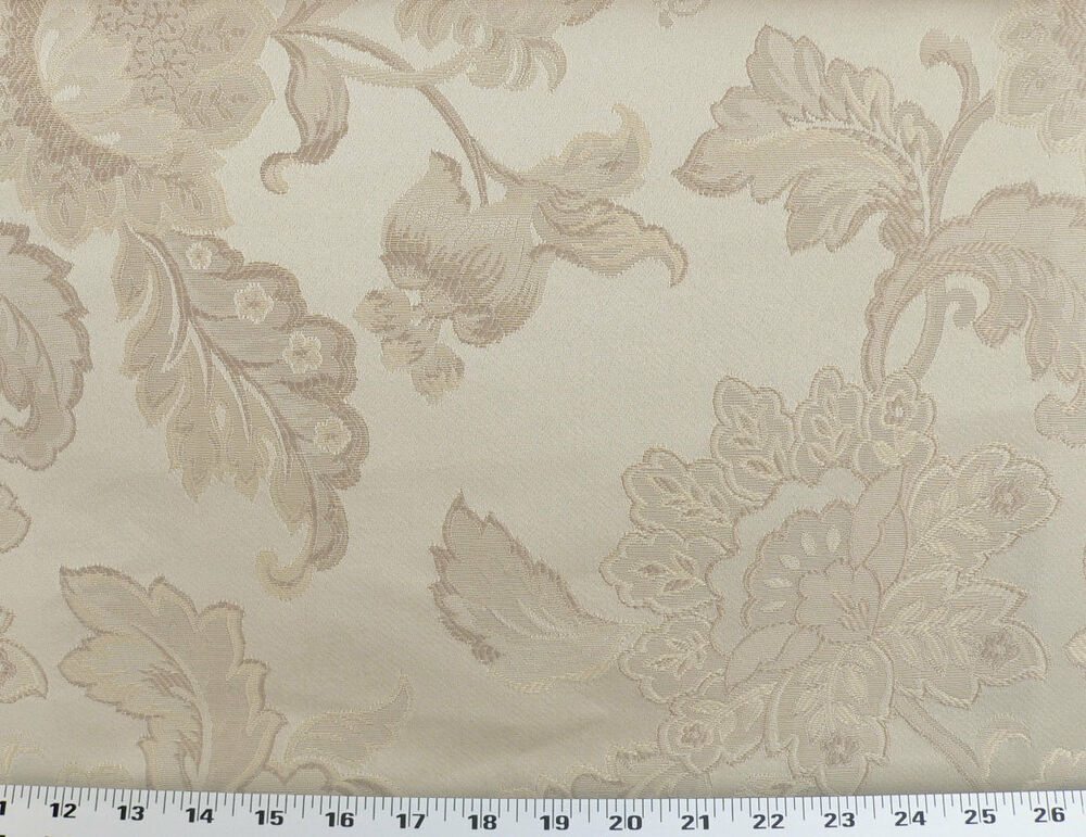 Drapery upholstery fabric jacquard floral pearl beige for Floral upholstery fabric