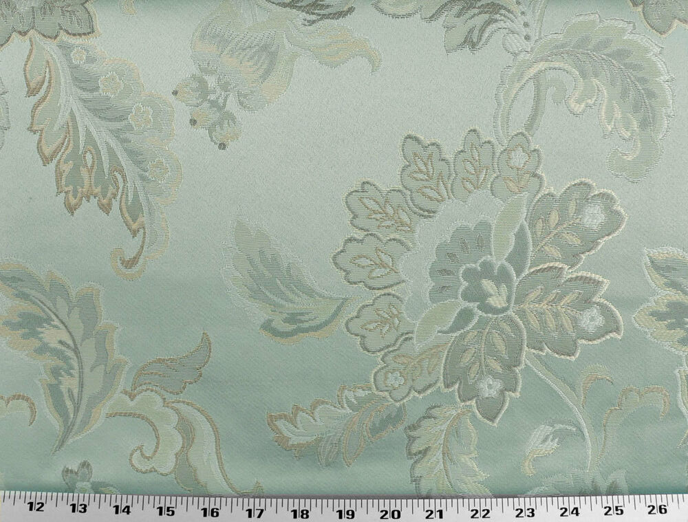 Drapery upholstery fabric jacquard floral ivory gold for Floral upholstery fabric