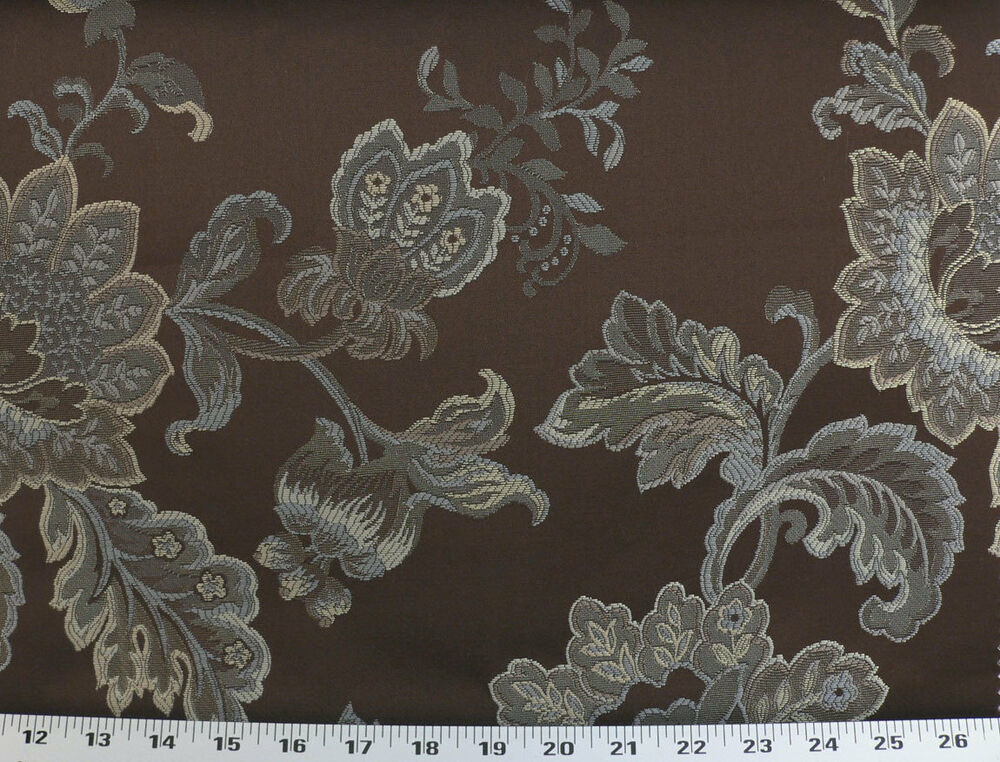 Drapery upholstery fabric jacquard floral taupe beige for Floral upholstery fabric