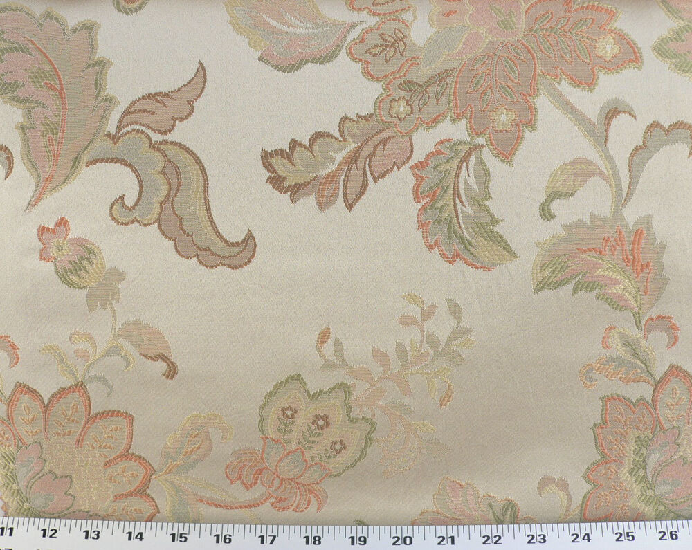 Drapery upholstery fabric jacquard floral peach spring for Floral upholstery fabric