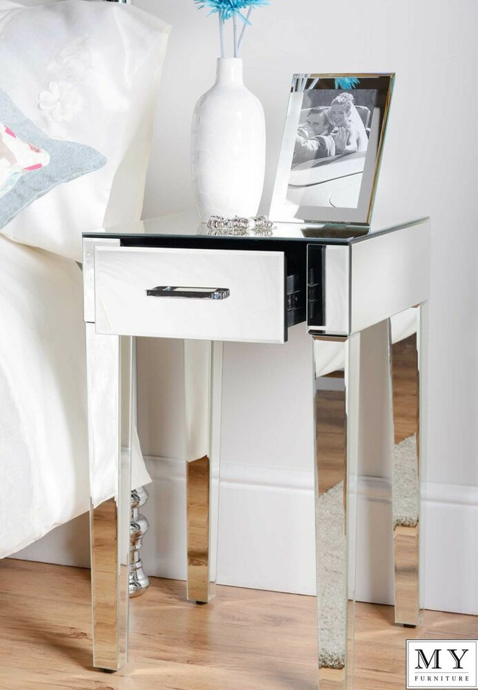My furniture mirrored single drawer bedside lamp table for Mirror bedside cabinets