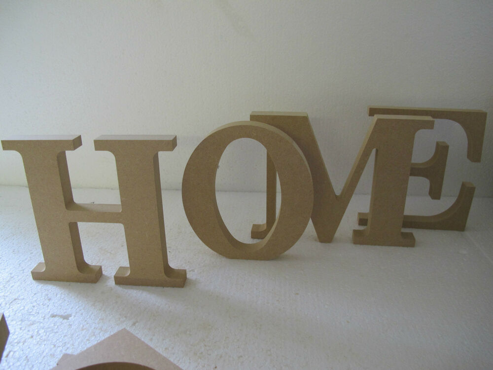 Quothomequot wooden letters free standing large 200mm high 18mm for Large freestanding wooden letters
