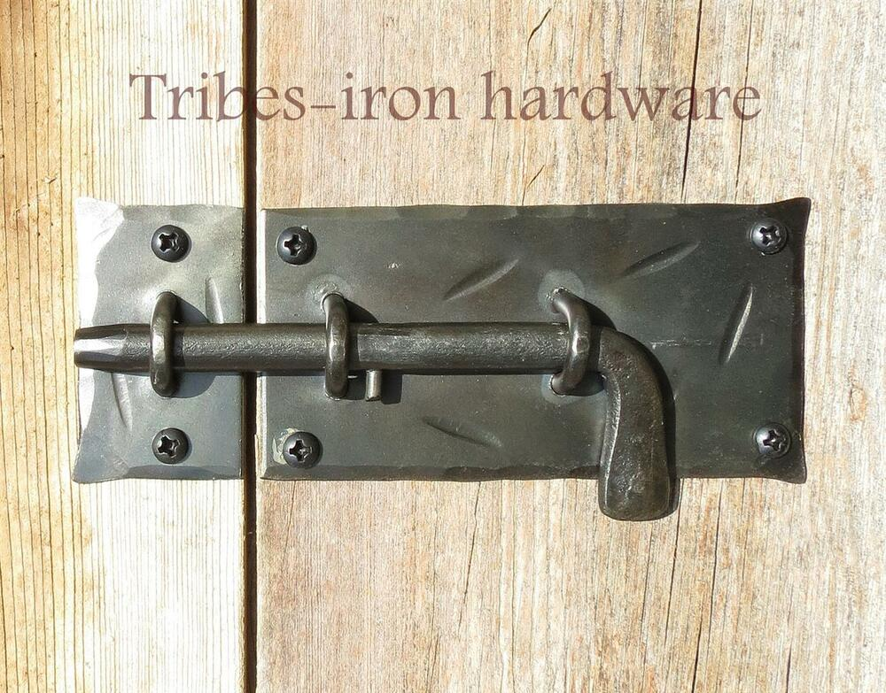 Antique Gate Latch : Hand forged slide bolt door latch cupboard gate shed