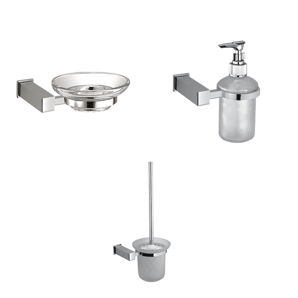 Glass Square Bathroom Accessories Set Chrome Finish Ebay